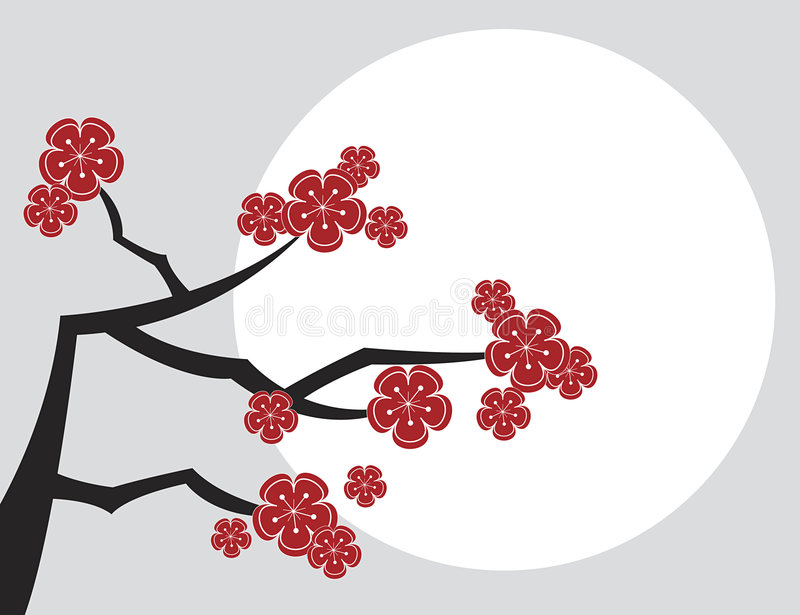 Red sakuras with white moon royalty free stock photos