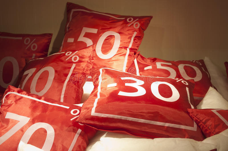 Red sale. On Warsaw shopping royalty free stock photos