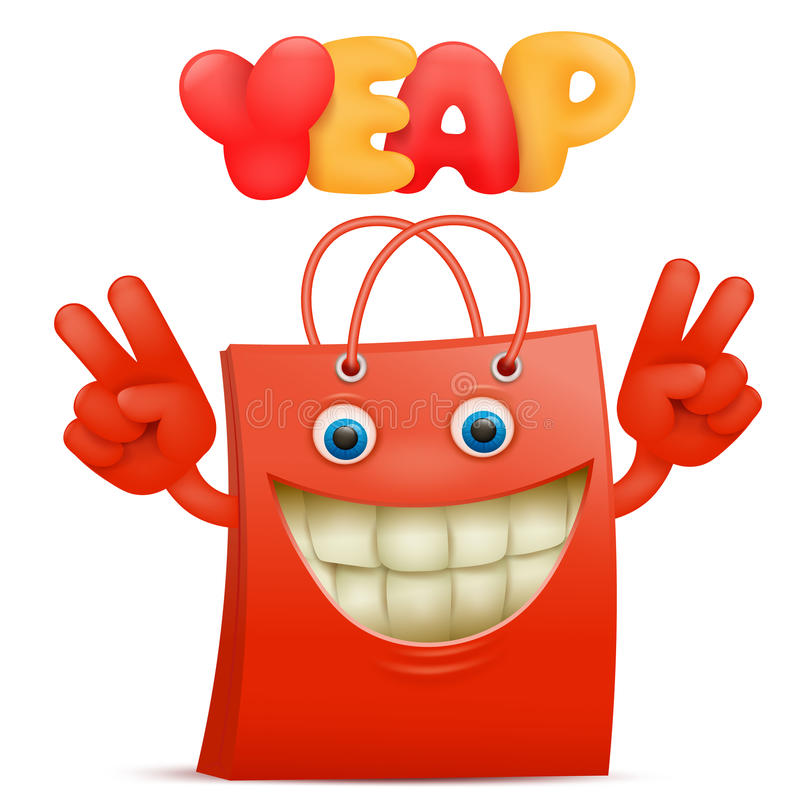 Red sale bag emoticon cartoon character with yeap title stock illustration