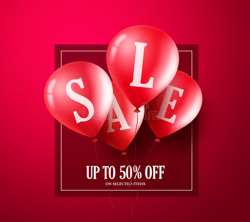 Red sale balloons vector banner design. Balloons with sale text flying vector illustration