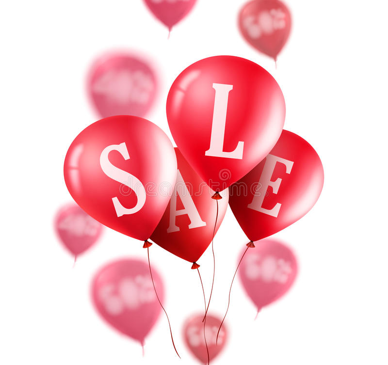 Red sale balloons vector banner. Flying red sale balloons royalty free illustration