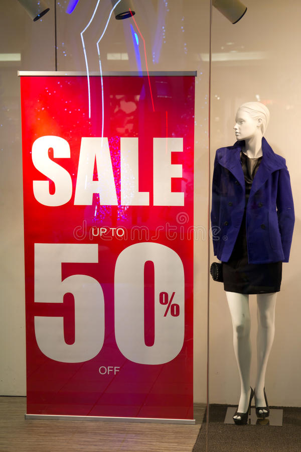 Red sale banner. Outside of fashion shop royalty free stock photography