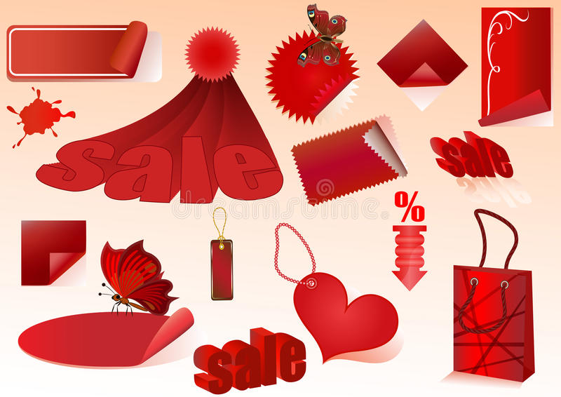 Download Red sale design elements stock vector. Image of badge - 27429094