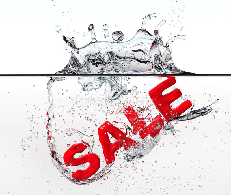 Red sale dropped into water. With splash. 3d royalty free stock photo