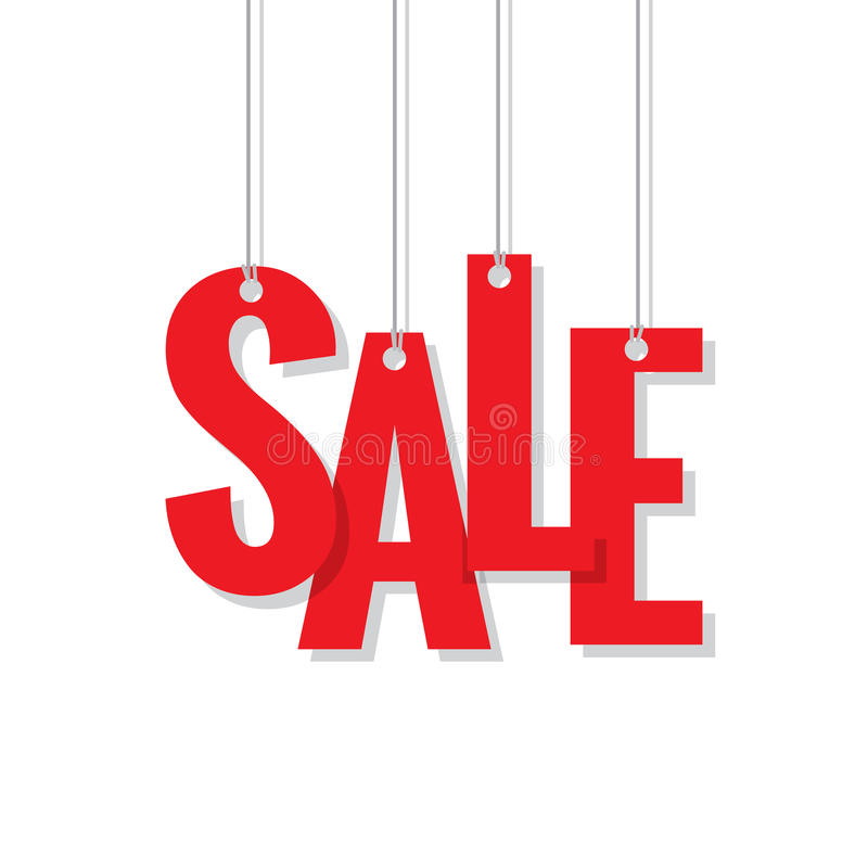Red sale hanging mobile heading design on white backdround. For banner or poster. Sale and Discounts Concept. Vector illustration stock illustration