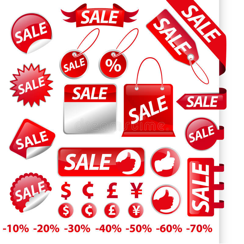 Red Sale Label Collection Stock Image