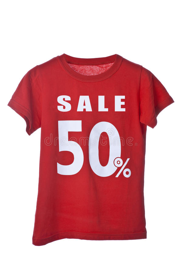 Red Sale Shirt. Isolated on white background royalty free stock images