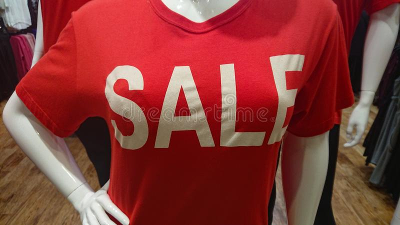 Red Sale Shirt. A red sale, offers, discounts store advertisement stock images