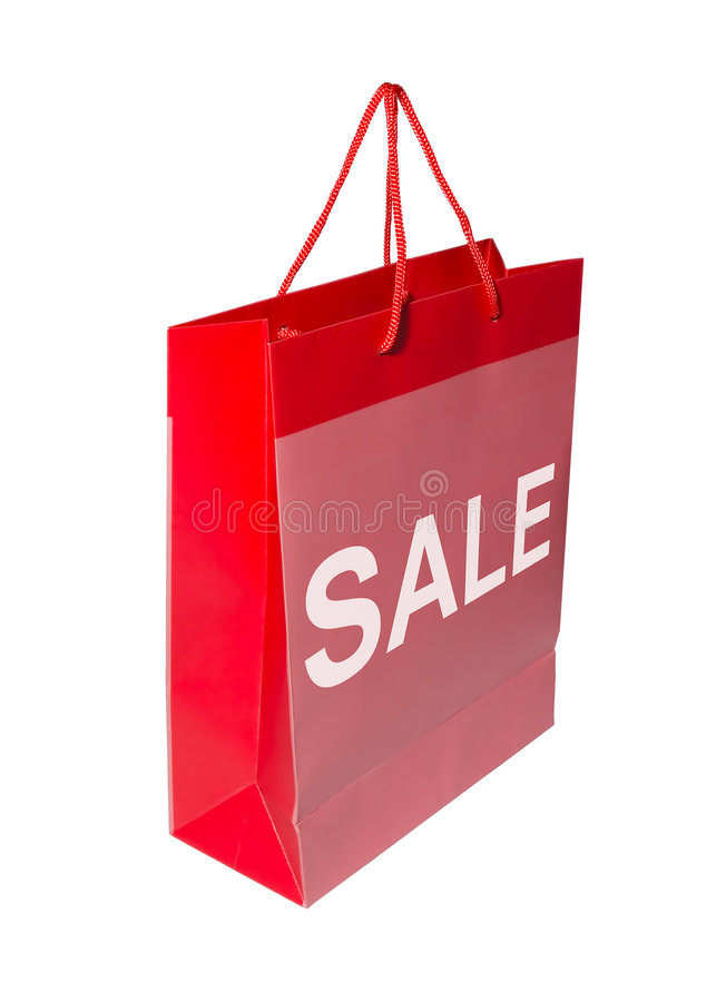 Red SALE shopping bag. A red shopping bag with the word SALE on it stock photography