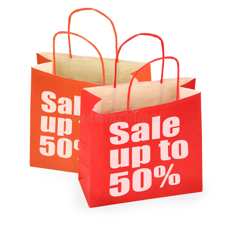 Red Sale Shopping Bags Royalty Free Stock Photos