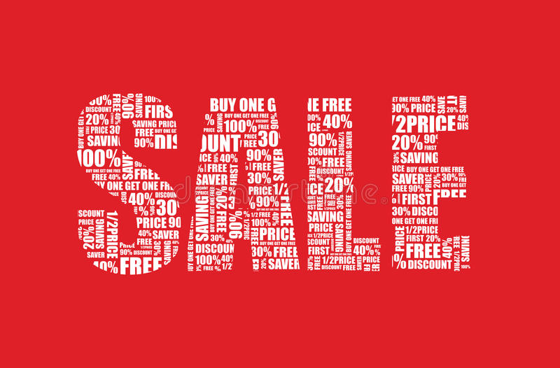 A red sale sign. Background stock illustration