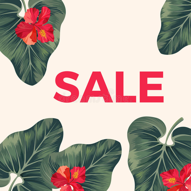Red sale sign on promo poster with leaves and flowers. Big tropical alocasia plant leaves and exotic red hibiscus blossom vector illustration stock illustration
