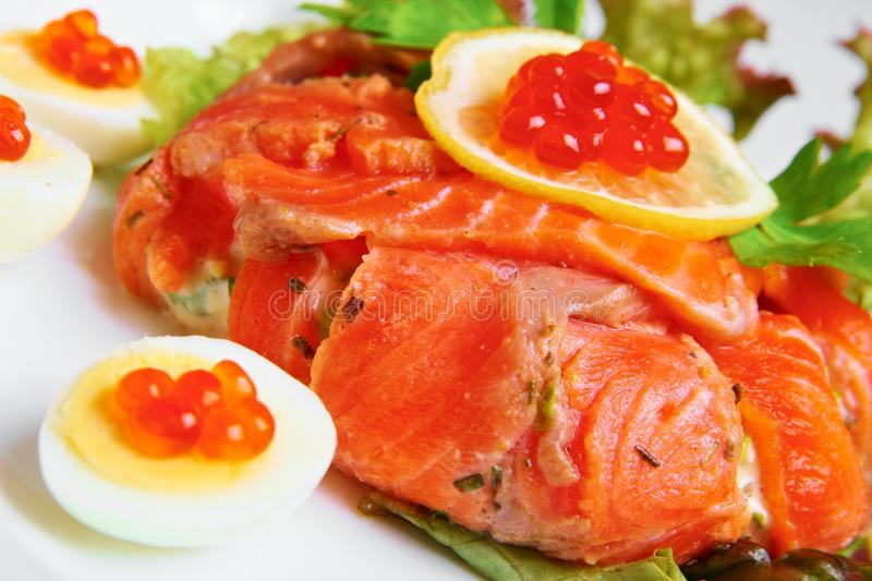 Red salmon and caviar royalty free stock photos