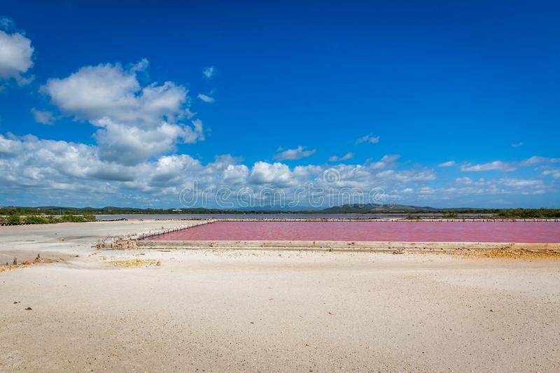 Red salt production in Puerto Rico lake. Pool stock photos