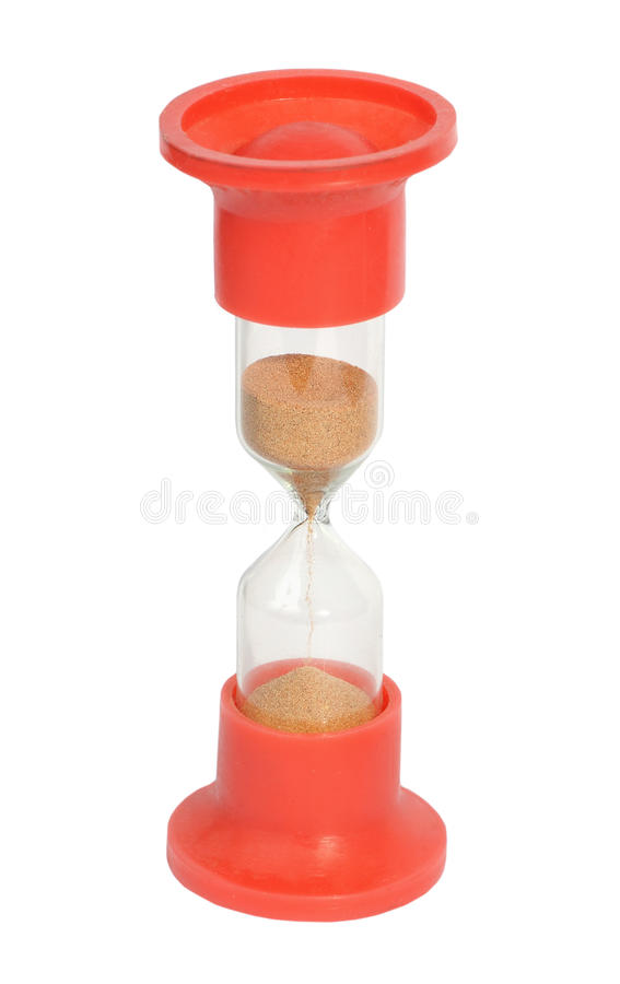 Red sand-glass isolated stock photography