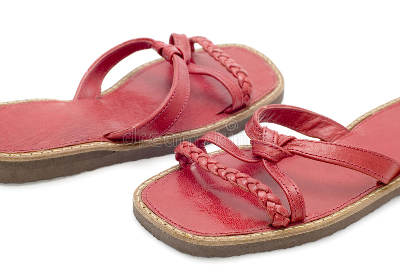 Red sandals close up. Object on white - shoes red sandals stock image