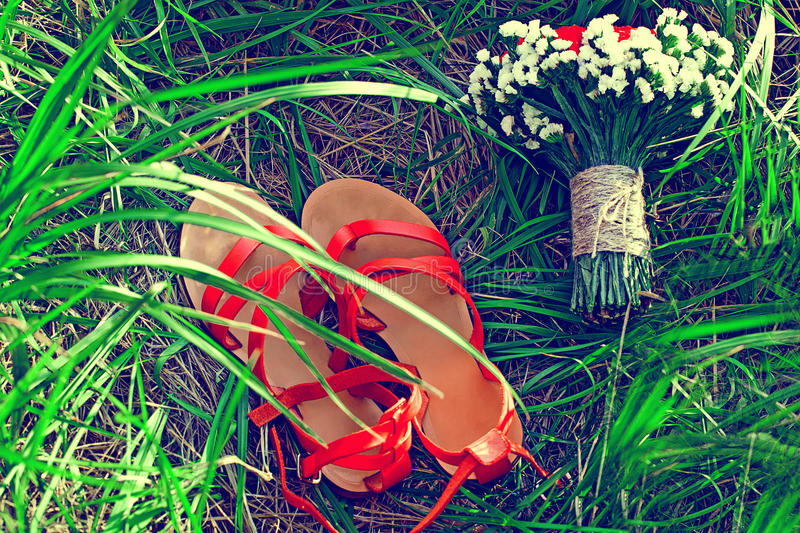 Red sandals lie on the green grass. Red sandals lie on the grass royalty free stock photo