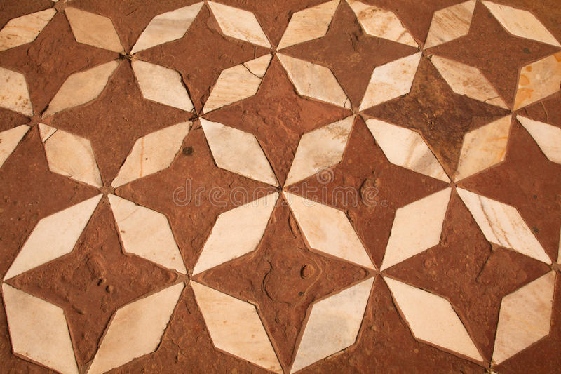 Red Sandstone and Marble floor Mosaic, Taj Mahal royalty free stock photography