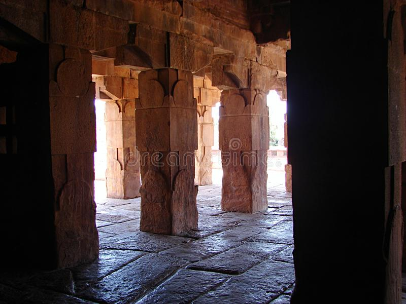 Red Sandstone Pillars in Architecture, Pattadakal, Karnataka, India. Pattadakkal, Karnataka, India is known for group of monuments of Chalukya dynasty... This is stock image
