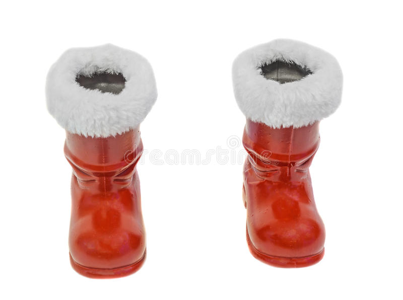 Red Santa Claus boots, Saint Nicholas, isolated on white background. stock photo