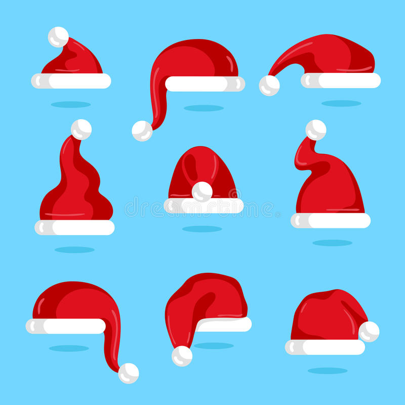 Red Santa Claus hat collection. Christmas element on blue background vector illustration. Santa hat icons in flad design. Merry Christmas concept stock illustration