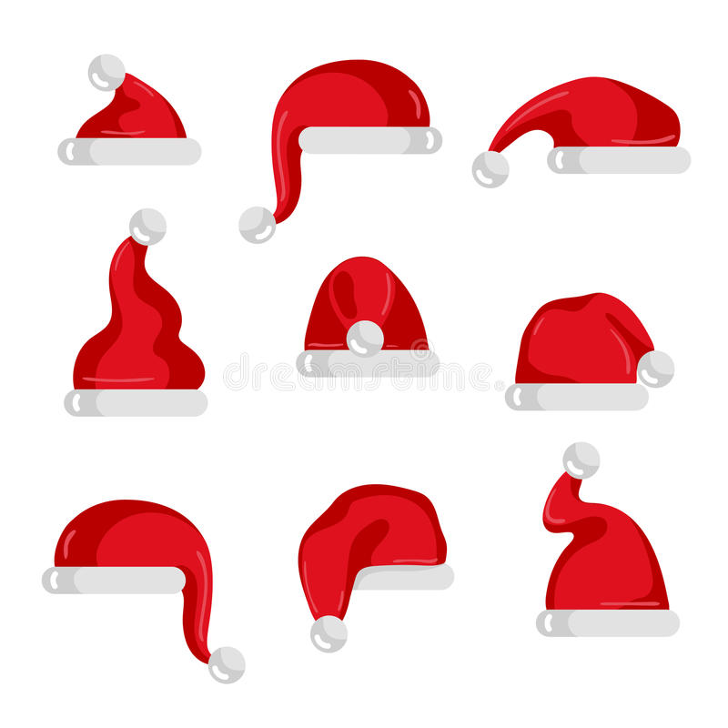 Red Santa Claus hat collection. Christmas element isolated on white background vector illustration. Santa hat icons in flad design. Merry Christmas concept royalty free illustration