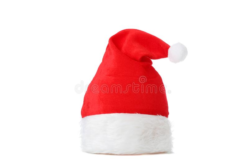Red Santa Claus hat isolated. On white background royalty free stock photo