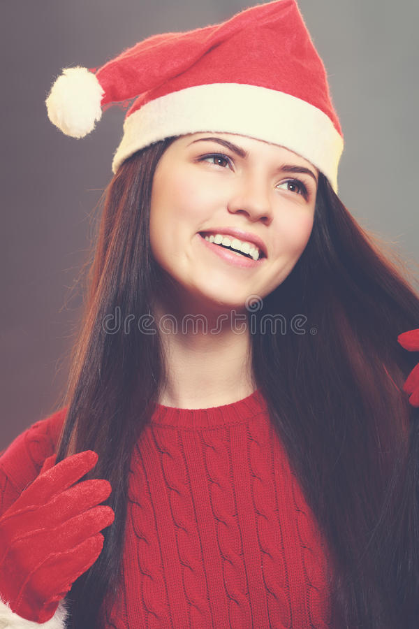 Red santa claus hat laughing stock photography