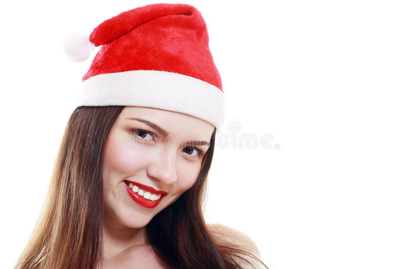 Red santa claus hat laughing royalty free stock photography