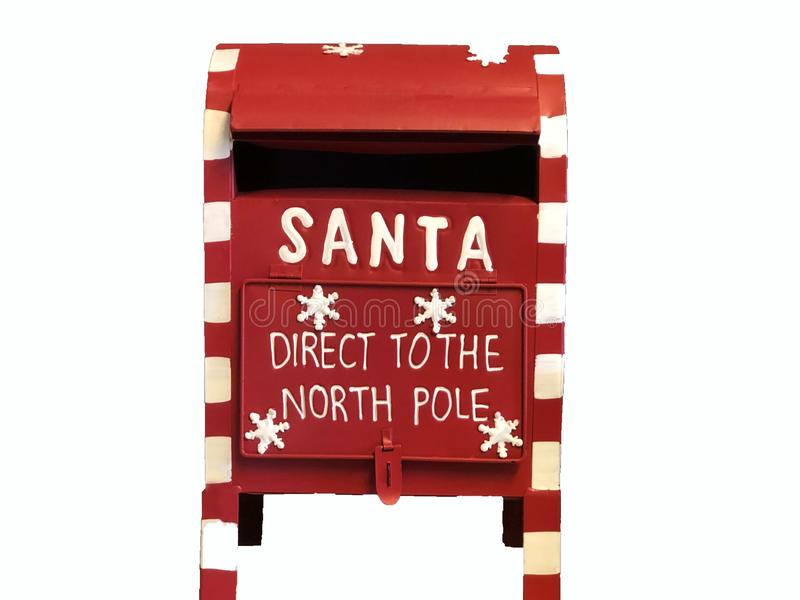 Red Santa Claus mailbox with text Direct to the North Pole isolated on white. Christmas concept royalty free stock images