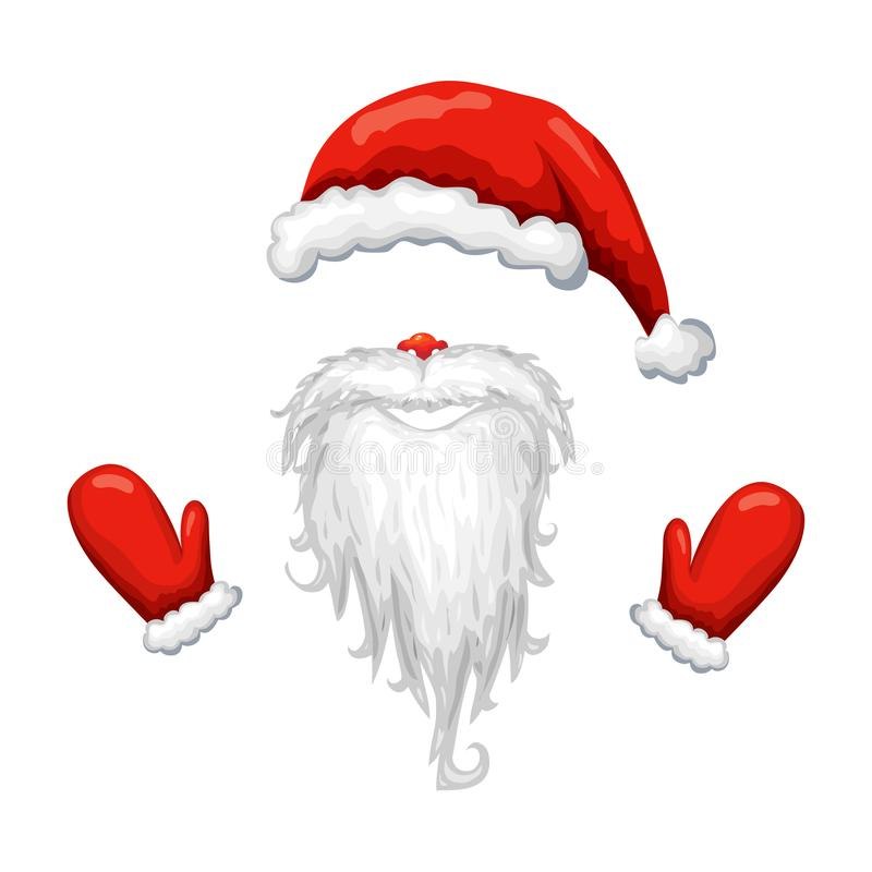 red santa hat, beard and mittens isolated on white background. Vector illustration of santa claus costume. santa face mask. stock illustration