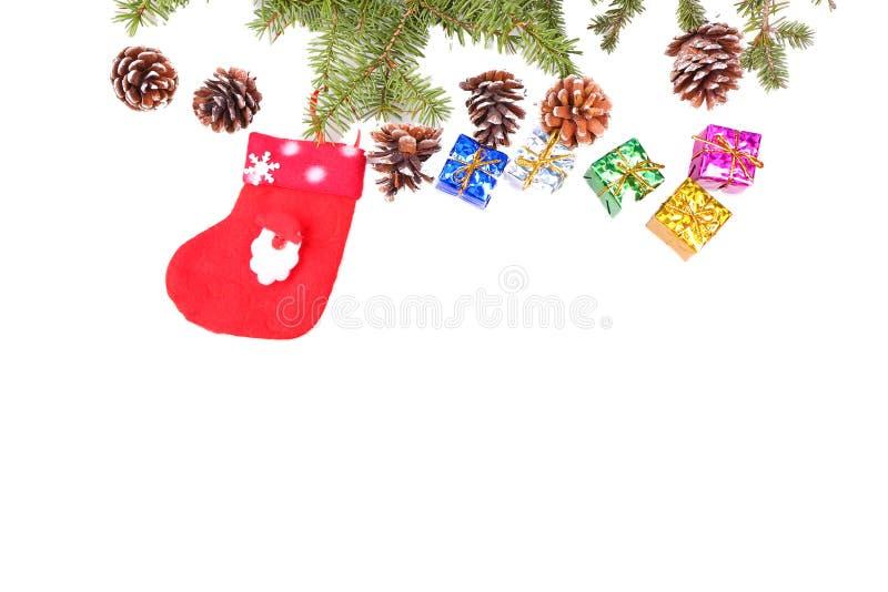 Red santa stocking isolated on white background. Taken on 2014 stock images