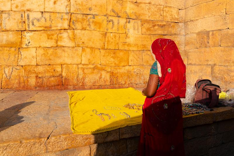 Rajsthani woman selling jewelleries royalty free stock photo