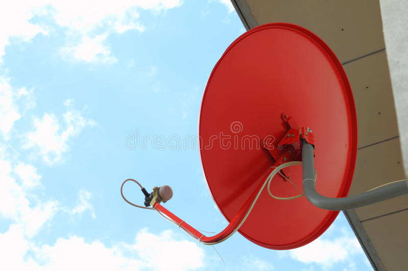 Download Red satellite dish stock image. Image of send, receiver - 17371547