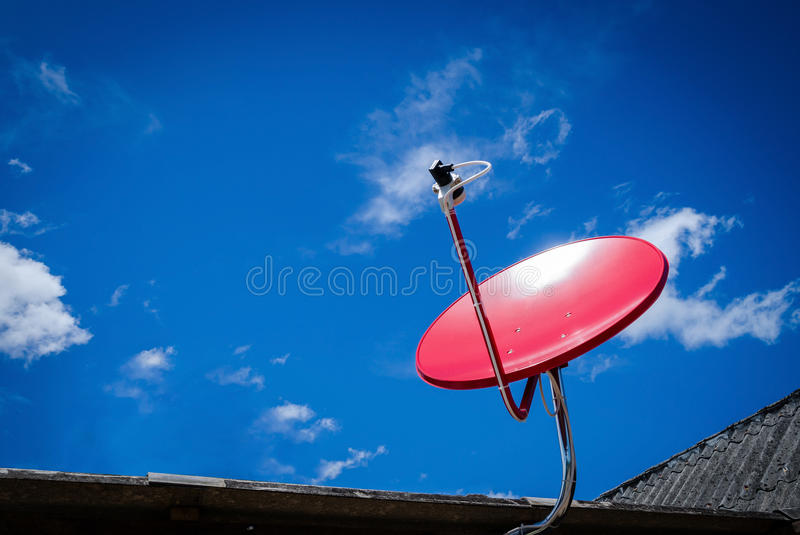 Download Red Satellite TV Receiver Dish On The Old Roof Stock Image - Image of technology, receiver: 69412343