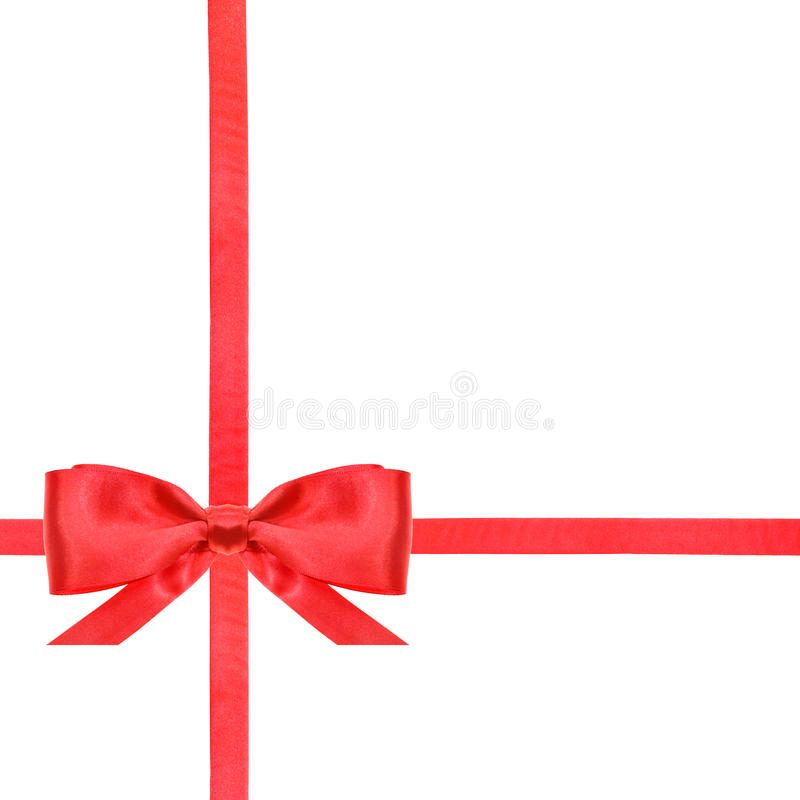 Red satin bow knot and ribbons on white - set 12. One red satin bow in lower left corner and two intersecting ribbons isolated on square white background stock image
