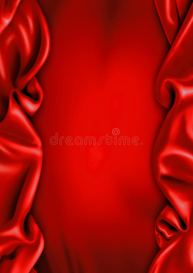 Red Satin Fabric Background Stock Photo