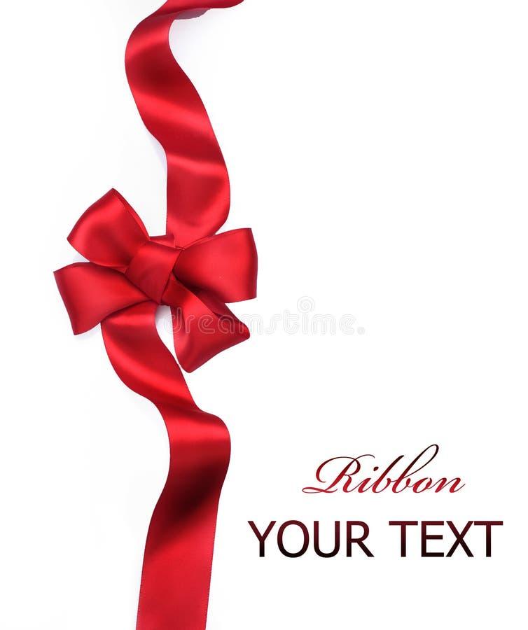 Red satin gift Bow. Ribbon royalty free stock image