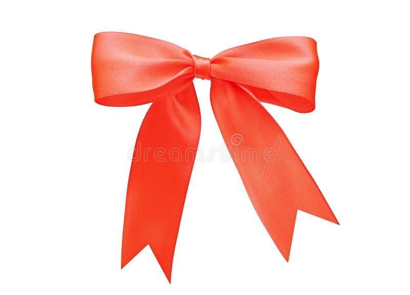 Red satin gift bow. Ribbon royalty free stock photos