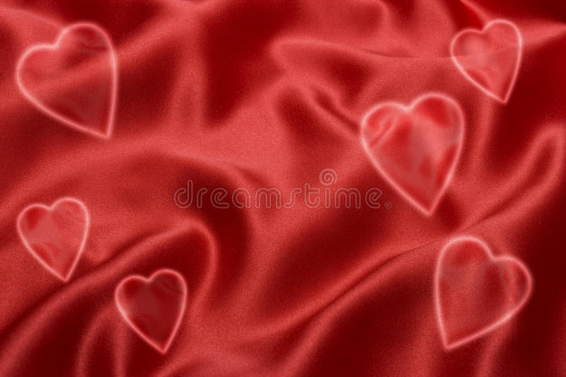 Red Satin Love Heart Background. A red satin background with love hearts stock image