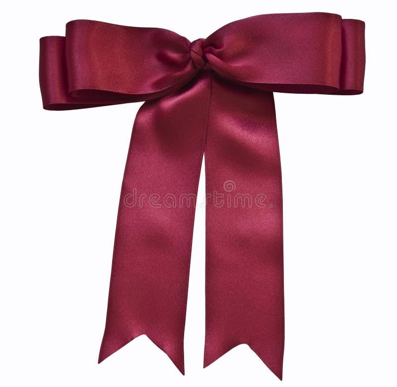 Red satin ribbon and bow stock image