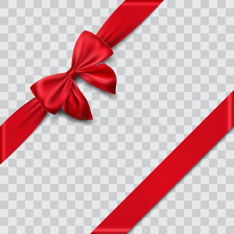 Red satin ribbon and bow. Illustration royalty free illustration