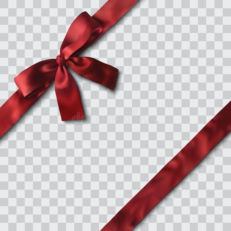 Red satin ribbon and bow. Vector illustration vector illustration