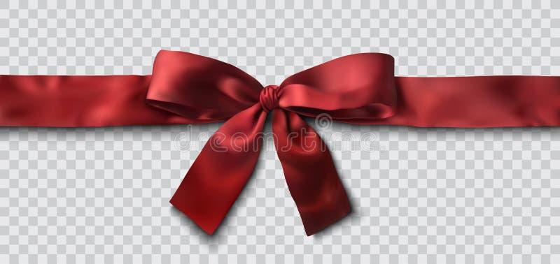 Red satin ribbon and bow vector. Illustration vector illustration