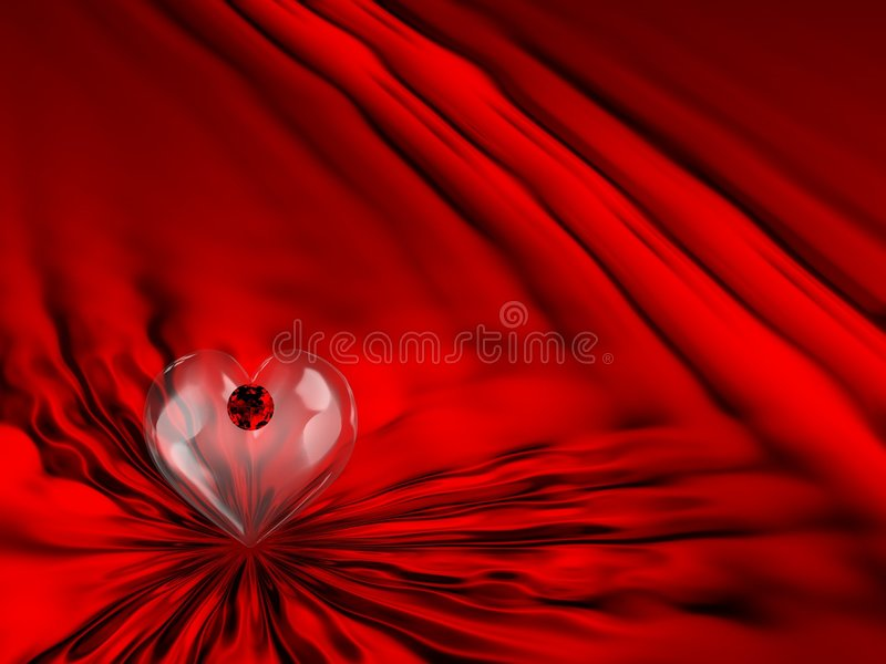 Red Satin Ruby Heart. Beautiful Red Satin/Silk Background With Glass Heart & Ruby vector illustration