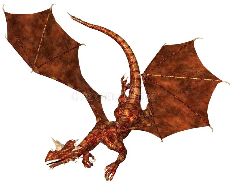 Red Scaled Dragon Swooping To Attack Stock Photos