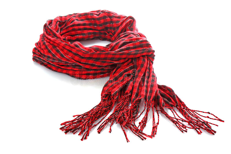 Red scarf. Isolated on white royalty free stock photo