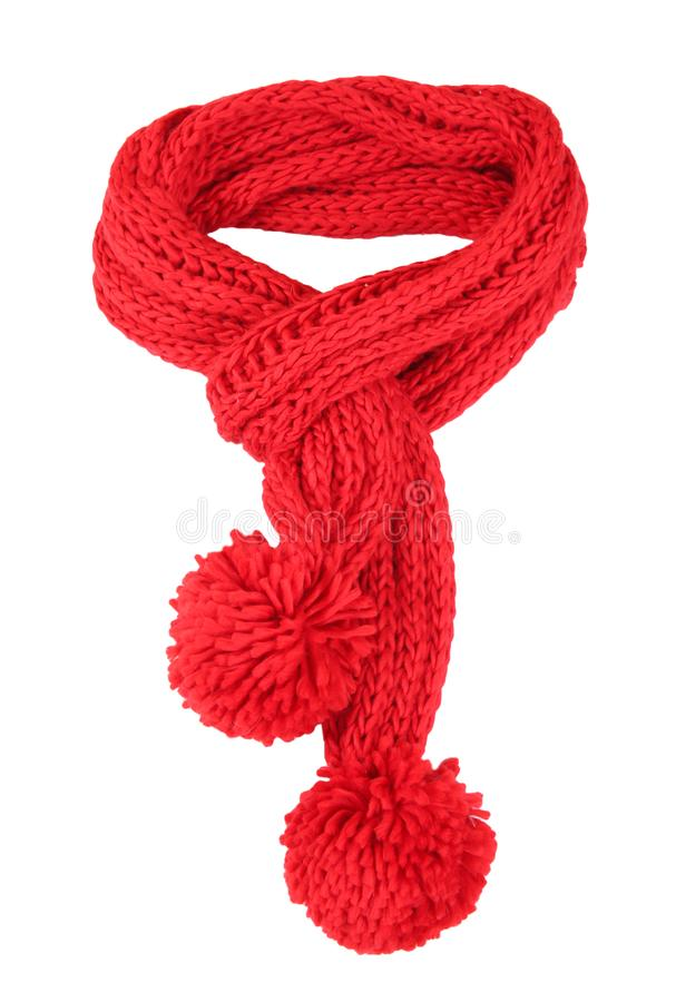 Red scarf isolated. Red knitted scarf isolated on white stock photos