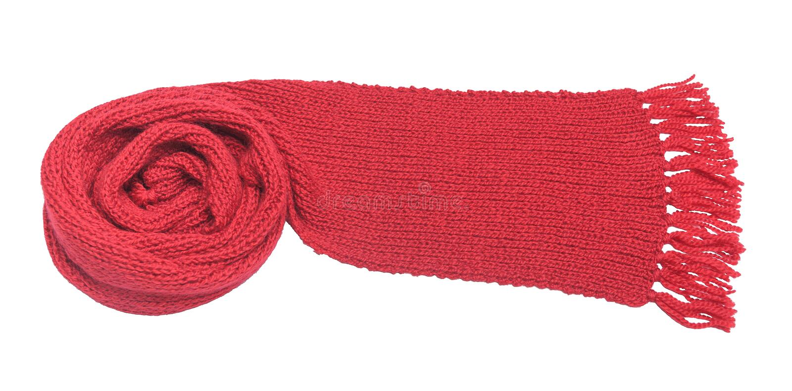 Red scarf on a white background. Red knitted scarf on a white background royalty free stock photography