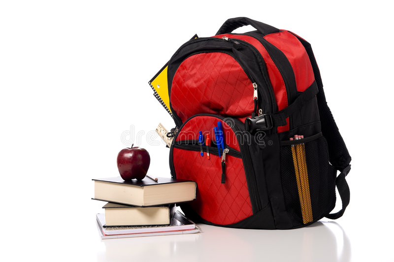 Red School Back Pack With Books Royalty Free Stock Image